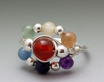 Rainbow Chakra Gemstone Sterling Silver Wire Wrapped Bead Ring - Made to Order, Ships Fast!