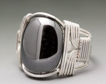 Hematite Cabochon Sterling Silver Wire Wrapped Ring - Made to Order, Ships Fast!