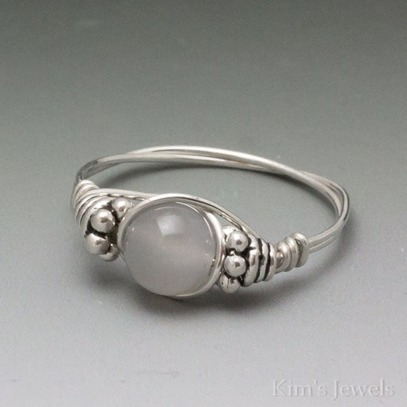 Silvery Grey Moonstone Bali Sterling Silver Wire Wrapped Bead Ring ANY size