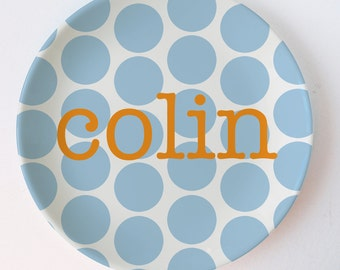 Personalized melamine plate - Polka Dot Name Personalized Plate - Big Initial