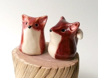 Miniature Clay Fox, Ceramic Stoneware Red Fox Figurines