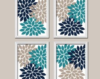 Teal Navy Beige Wall Art, CANVAS or Prints Bedroom Pictures, Bathroom Artwork, Flower Burst Wall Art, Home Decor, Dahlia Petals Set of 4