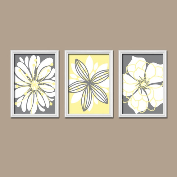 Grey Star Wall Decor : Yellow gray wall art bedroom canvas or prints by trmdesign