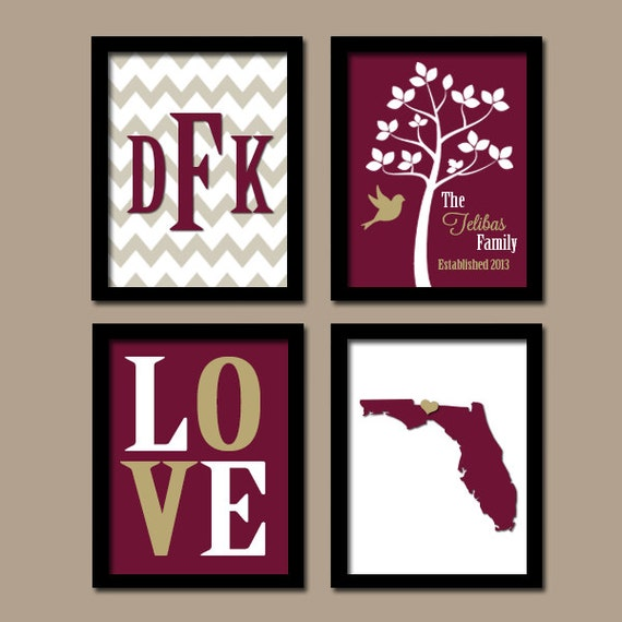 Florida State Family Monogram Initial Love Bird Tree By