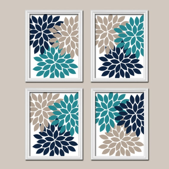 Teal Navy Beige Wall Art CANVAS Or Prints Bedroom Pictures