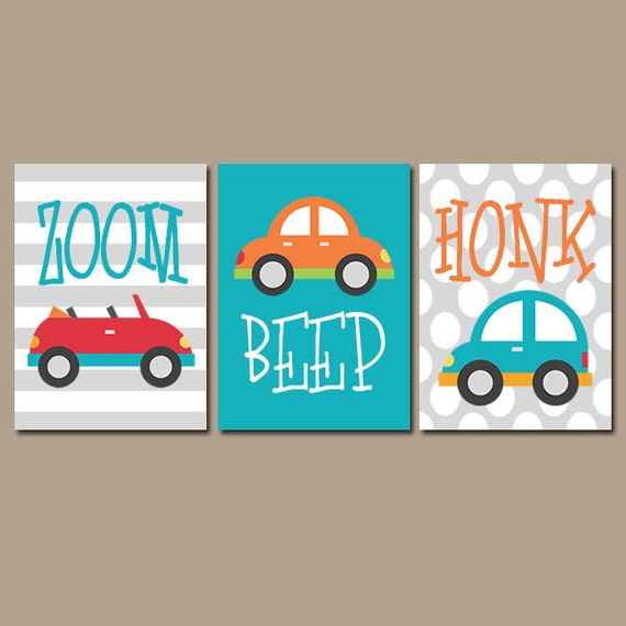 Nursery Wall Decor Transportation : Boy nursery wall art cars transportation theme