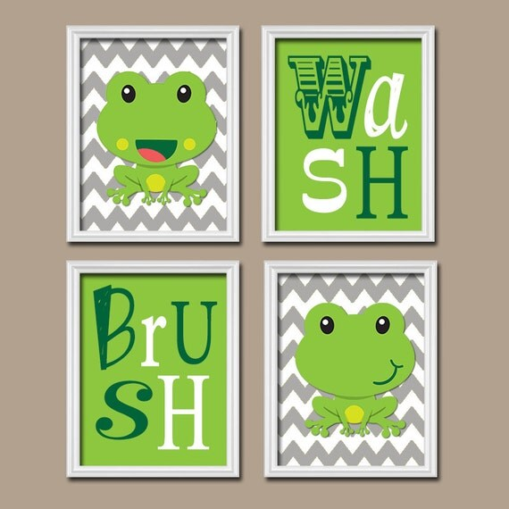 Frog Bathroom Wall Decor : Frog child bathroom wall art canvas or prints girl by