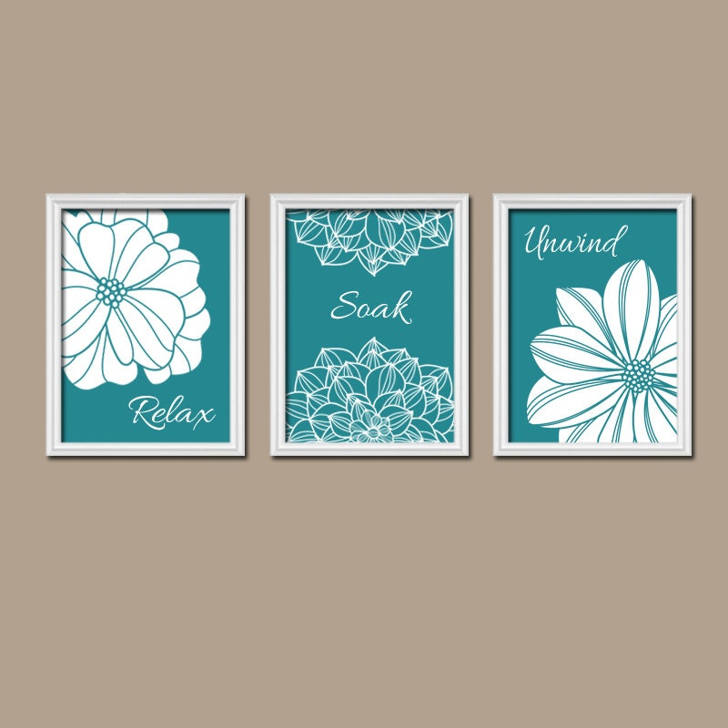 Bathroom decor teal bathroom wall art canvas or by trmdesign for Bathroom wall decor images