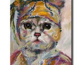 SALE Flapper Cat Original Oil Painting Feline Portrait Gatsby Style