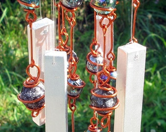Garden Decoration Apache Tear Windchime / Wind Chimes with Recycled Aluminum and Copper Wrapped Teal & Black Glass Marble Prisms
