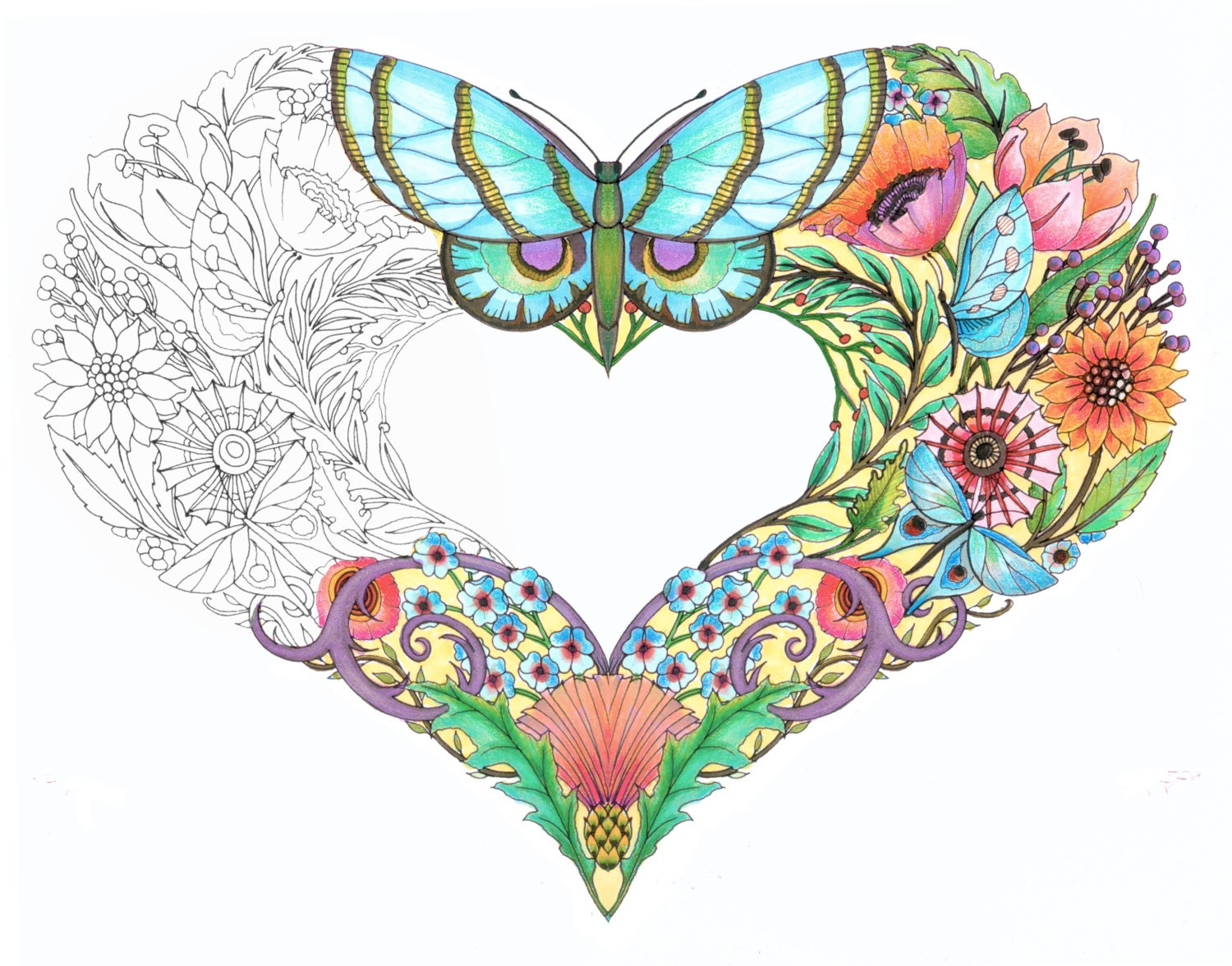 Open Hearts Coloring Pages for adults-Set of 10