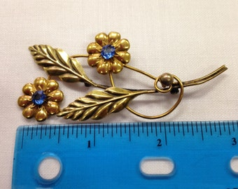 Vintage Hobson 12 Kt Gold Filled with Sapphire Blue Prong Set Paste Rhinestones