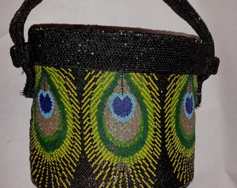 beautiful vintage 1930s 1940s peacock feather beaded box purse evening bag