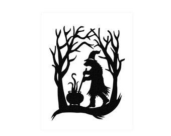 The Bear Witch Paper Cut Silhouette Art Scissor Cut Paper Bear In The Woods Halloween