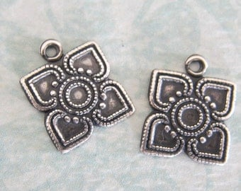 2 Silver Square Drop Charms 3265