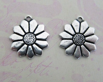 NEW 2 Silver Flower Charms 3545