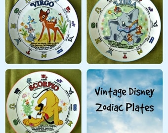 Vintage Collectible Disney Zodiac Plates by Schmidt