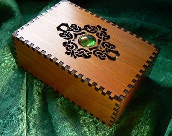 5 7/8 x 3 7/8 x 2 1/4 Curvy Celtic Cabochon Red Cedar Box
