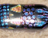 Pink Black and Blue Dichroic Fused Glass Cab