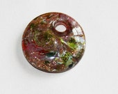 1 piece of  Red  foil lampwork flat round 25mm