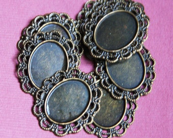 Bulk 100 pcs of antique brass Cabochon setting 23x28mm