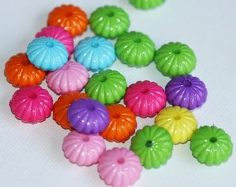 50 pcs of Colorful Acrylic rondelle beads 14x7mm - Assorted color