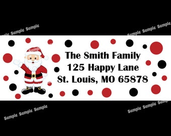 30 Personalized Christmas Return Address Labels  - Santa Design
