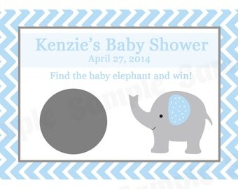 24 Personalized Baby Shower Scratch Off Game Cards -  ELEPHANT  - Blue