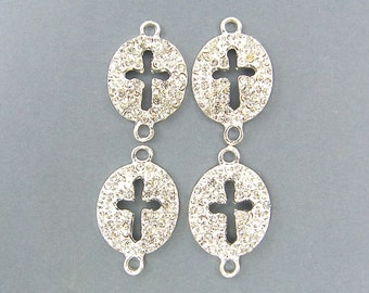Silver Rhinestone Cross - Sideways Bracelet Link Jewelry Connector |S2-16|4 XH
