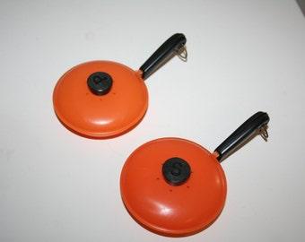 Orange Plastic Kitsch Fry Pan Salt & Pepper Shakers