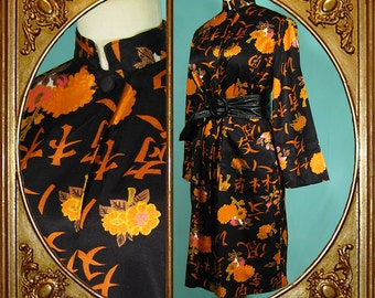 Vintage cotton satin Asian kimono/housecoat/jacket.