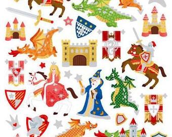 Castles & Dragons Stickers • Wizards Sticker • Prince and Princess • Hero • Knight • Dragon Sticker • Knight Party (SK4268)
