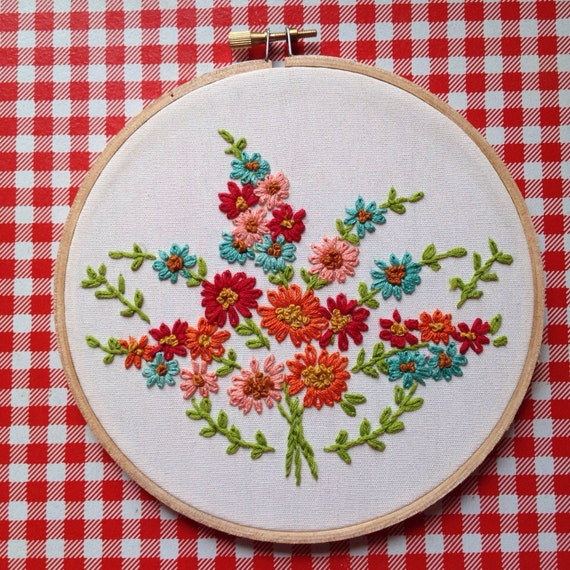 Items similar to floral bouquet embroidery hoop on etsy