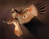Hawk Wood Sculpture Attacking by Jason Tennant