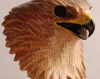 Hawk Mask Woodcarving by Jason Tennant