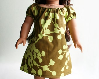 SALE - Fits like American Girl Doll Clothes - Designer Peasant Shift Dress in Olive Green