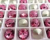 12 Rose Foiled Swarovski  Rivoli Stone 1122 12mm