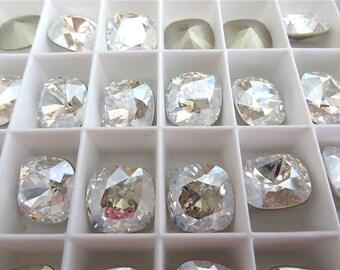 1 Moonlight Foiled Swarovski Crystal Square Cushion Cut Stone 4470 12mm