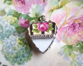 Vintage - Recycled Broken China - Rhinestone Heart - Rose - Pendant -