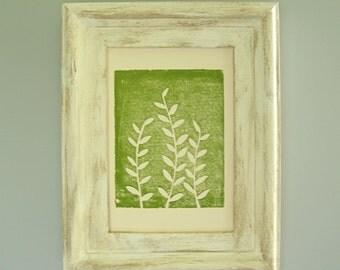 Botanical Print, Green Leaf Art, Hand Pulled Print, Nature Art Print, Leaf Linocut, 1st Anniversary Gift, Simple Leaf Print