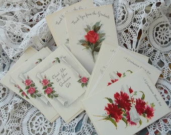 8 Unused Vintage 1960s 70s Hallmark Graduation Thank You Cards Red Roses Carnations Instant Collection Ephemera Destash Scrapbook Supplies