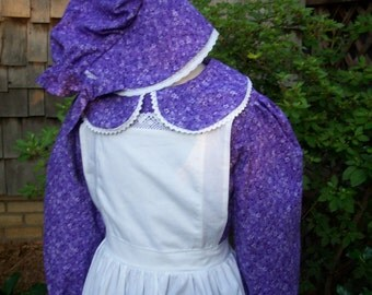 Girls Pioneer Dress,Pinafore, and Bonnet ..  Laura Ingalls Costume..... Made to Order (PLEASE check lead time inside of ad)