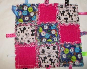 "Rag Quilt Lovey Taggie  Blanket  Flannel Baby Girl Toddler 15"" X 15"" Pink,Kitties"