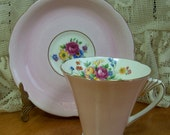 Vintage Cup  and Saucer Bone China - made in England by Grafton - Light pink with florals