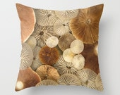 Gills Galore Mushroom Pillow Cover Natural History Mushroom Gills Fungi Mycology Woodland Scene Forest Scene