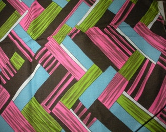 Vintage Bright 60s or 70s Pink, Green, Black, Blue Funky Fabric