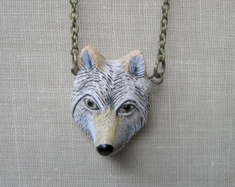 White wolf necklace, hand painted ceramic bead, wildlife animal, woodland pendant