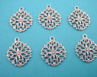 6 silver ox filigree art nouveau open cut charms  14mm