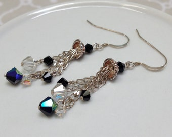 Black and Clear Swarovski Crystal Chandelier Earrings