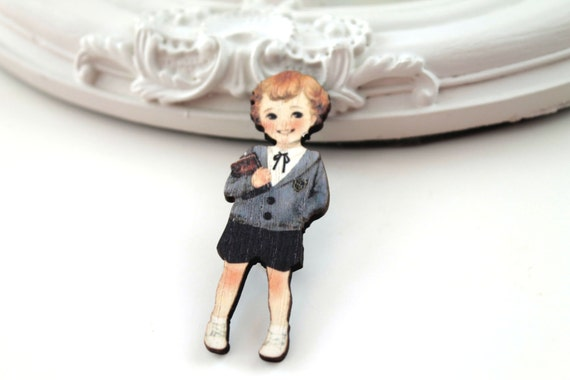 Retro boy wooden brooch kawaii sweet book serious school
